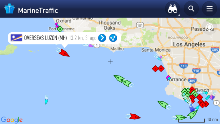 screen capture of shipping map of ship carrying bitumen from Burnaby to California oil refinery