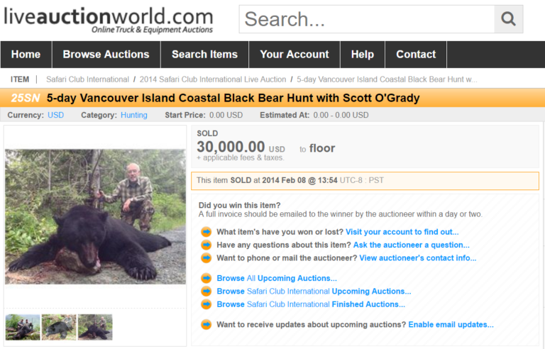 screen shot from trophy hunting auction