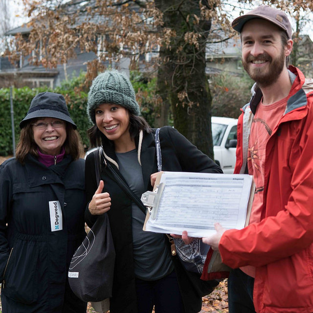 Three Dogwood Canvassers with a Clipboard