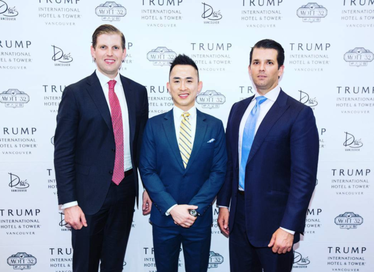 Trump Tower Vancouver owner Joo Kim Tiah with Eric Trump and Donald Trump Jr.