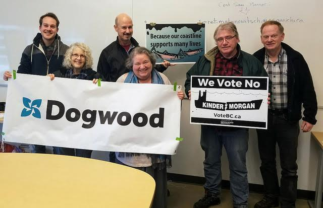 Volunteers from Saanich North Team with Dogwood banners