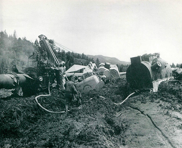 Muddy construction of original Trans Mountain line