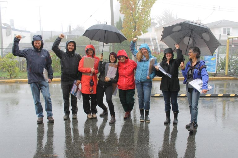 Fierce Dogwooders brave the rain to canvass Burnaby neighbours