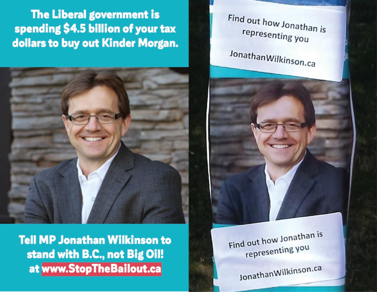 North Van MP Jonathan Wilkinson on a poster, before and after the next is covered over