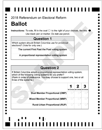 B.C.'s referendum ballot on Proportional Representation