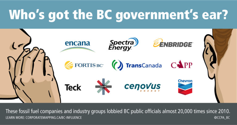 Who's got the B.C. government's ear? These oil companies and their officials lobbied the B.C. government 20,000 times since 2010.