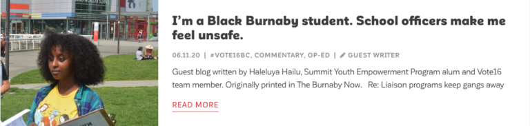 Read blog by Haleluya Hailu: I'm a Black Burnaby student. School officers make me feel unsafe.