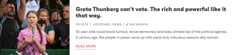 Read Blog by Kai Nagata: Greta Thunberg can't vote. The rich and powerful like it that way.