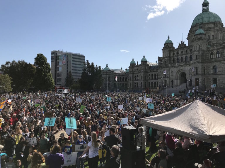 A group of youth protest outside the B.C. Legislature