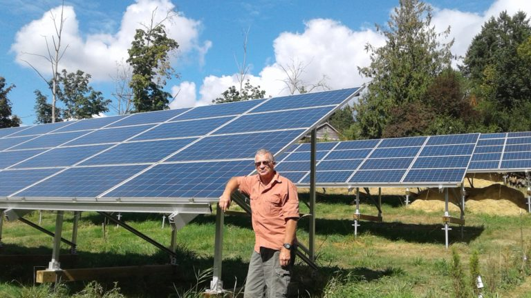 Peter Nix with his solar panels