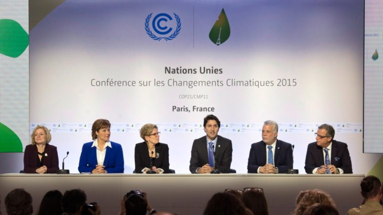 Trudeau and Premiers at Paris climate summit