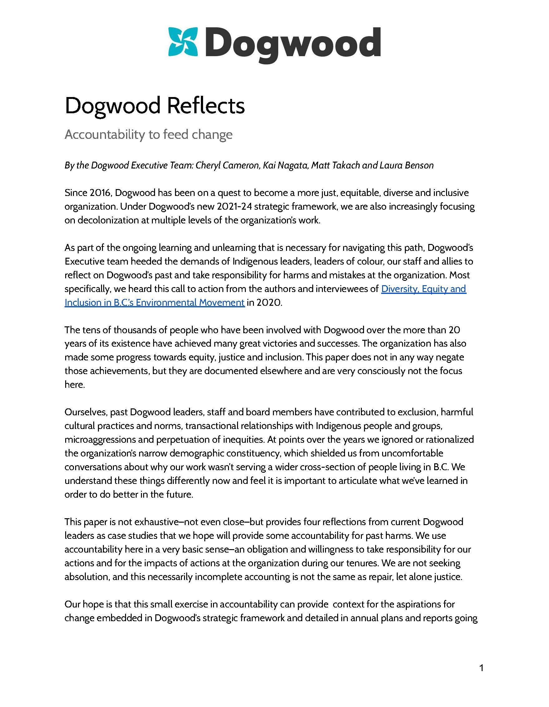 Dogwood Reflects: Accountability to feed change